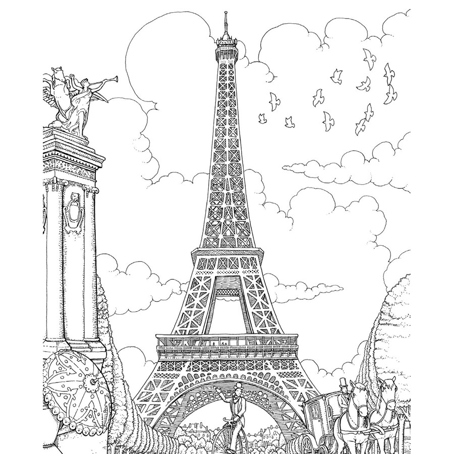 adult coloring book paris 9789043917315 front cover prev - Paris Coloring Book