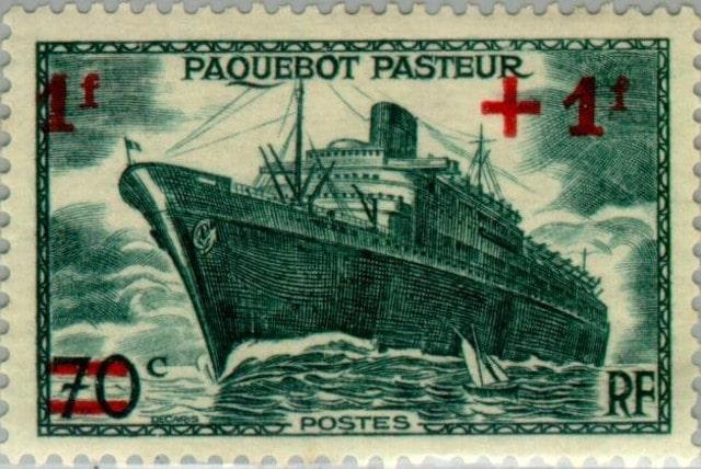 Ship Pasteur - overprint - France 1947