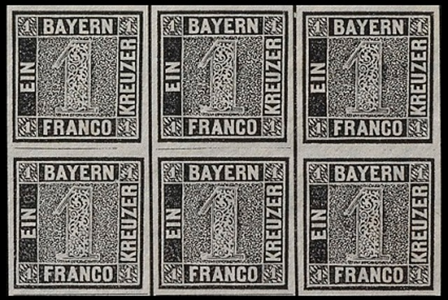One kreuzer black stamp