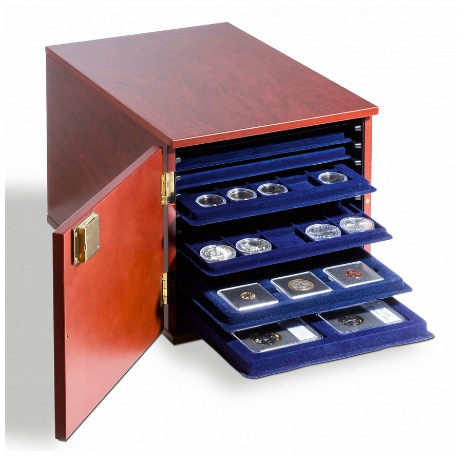 Leuchtturm coin tray cabinet for 10-L-sized tab trays, mahogany stained wood
