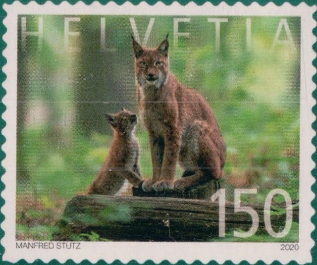 Switzerland lynx stamp