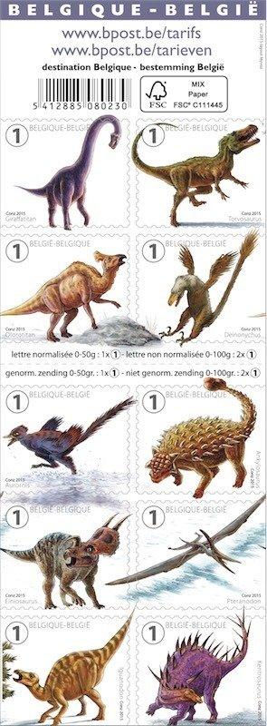 Balgium dinosaurs stamps