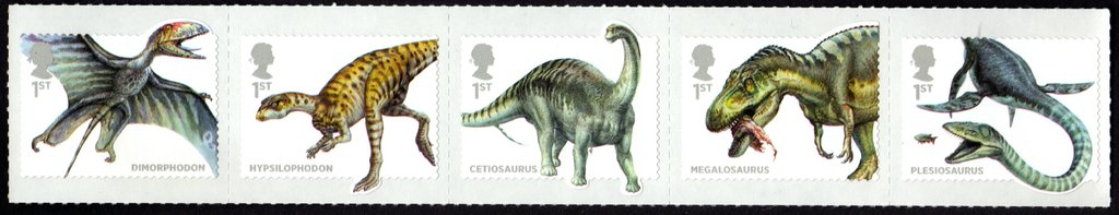 UK dinosaurs stamps