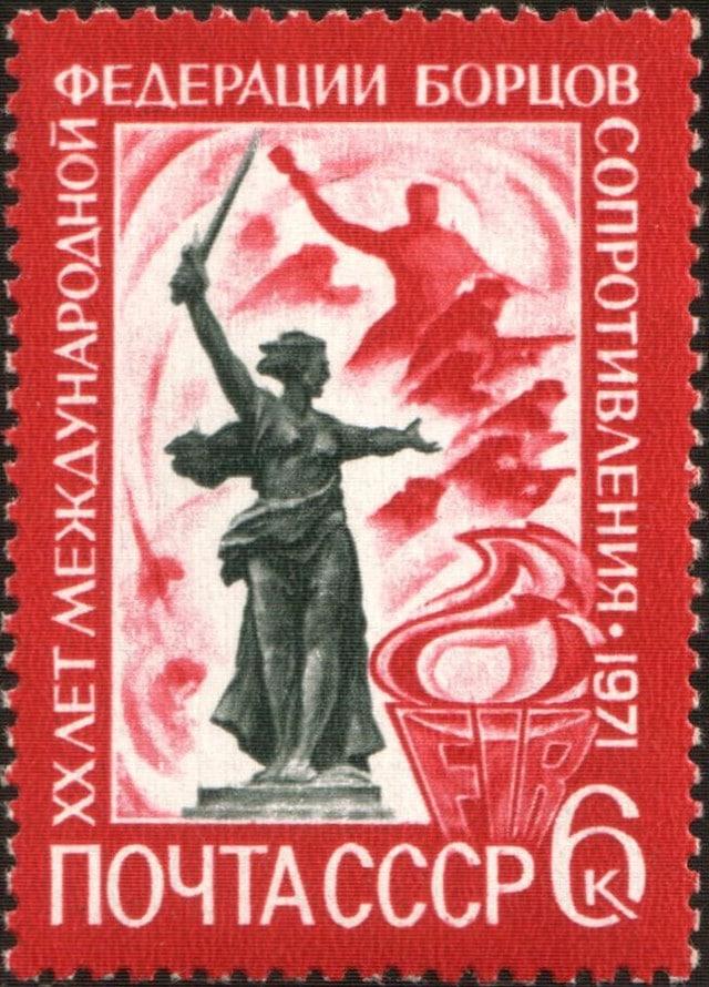 Motherland monument in Stalingrad stamp