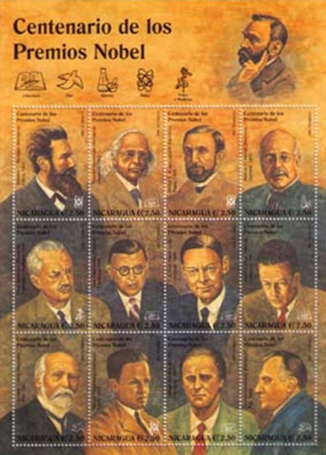 Jean-Paul Sartre Nicaragua stamp