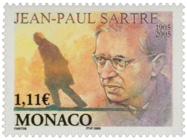 Jean-Paul Sartre Monaco stamp
