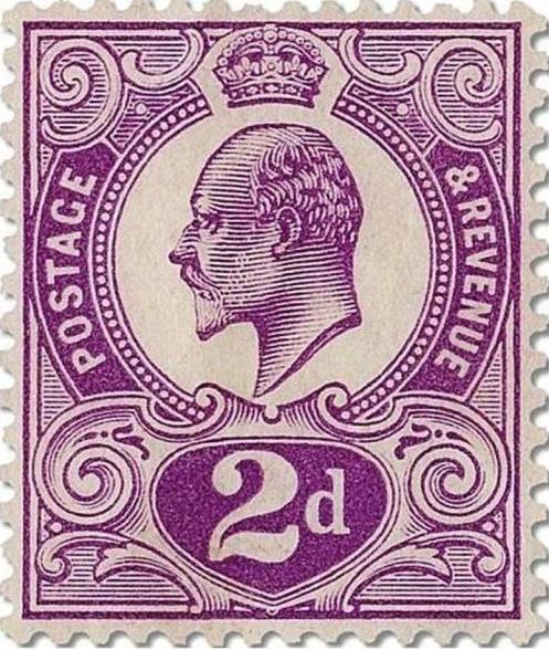 Edward VII 2d Tyrian Plum stamp UK